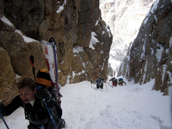 Bootpacking near the top of the couloir