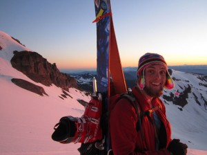 "Happy at sunrise, on Rainier, Alex said ""This picture says it all"""