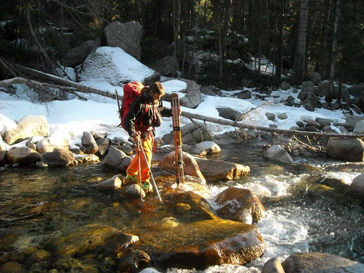 Crossing Little Cottonwood Creek after skiing the Pfeifferhorn and Hypodermic Needle