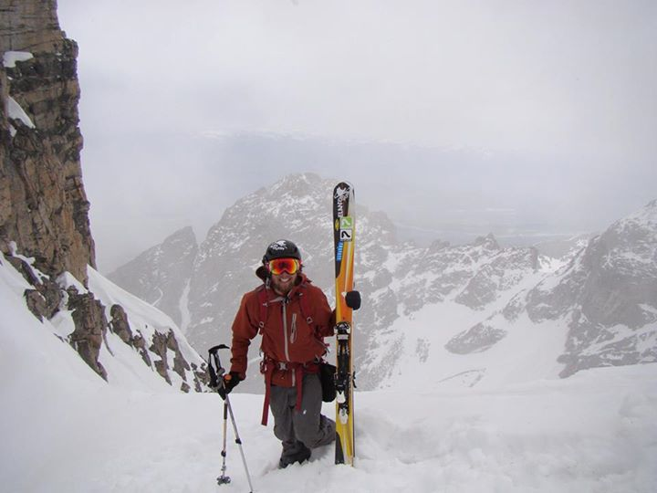 Ben getting ready to ski the East Face of the Middle Teton