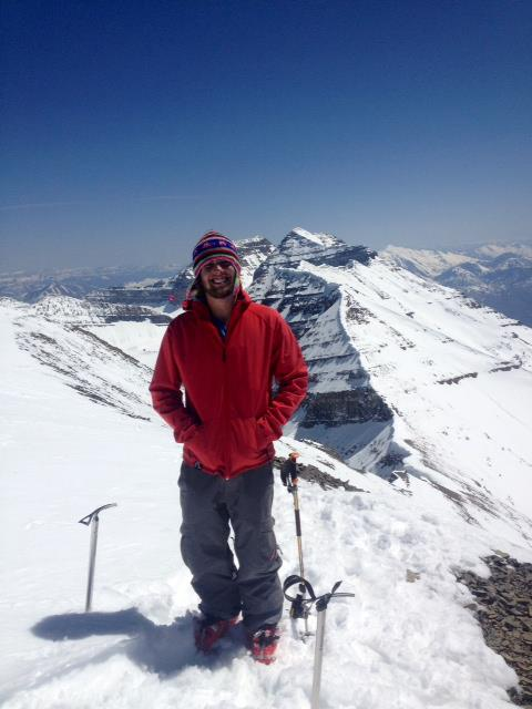 Ben on the North Summit of Timpanogos before skiing the Cold Fusion Couloir