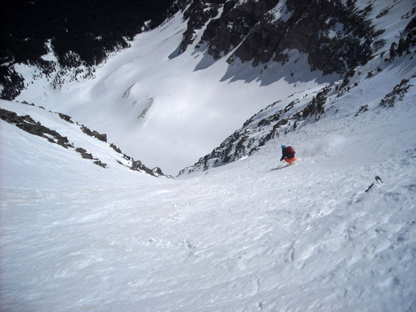Kyle snapped this of me skiing Wilson Peak, my favorite line of the season