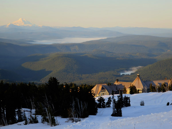 Mt. Jefferson in the background of Timberline Lodge