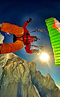 Speedflying in the winter combines parachutes, skis, and mountaineering skills all in one day.