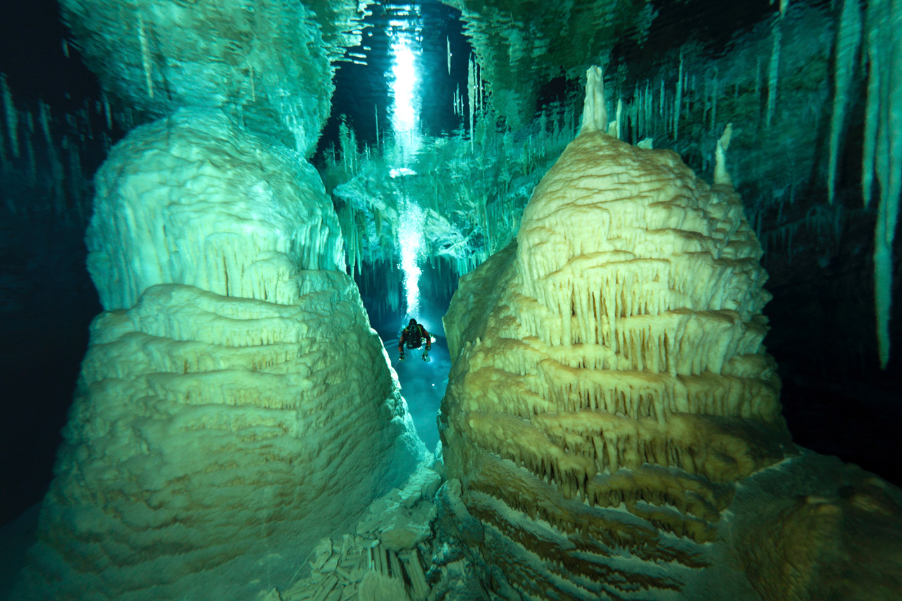 Stunning formations in a Bermuda cave. Photo: Jill Heinerth