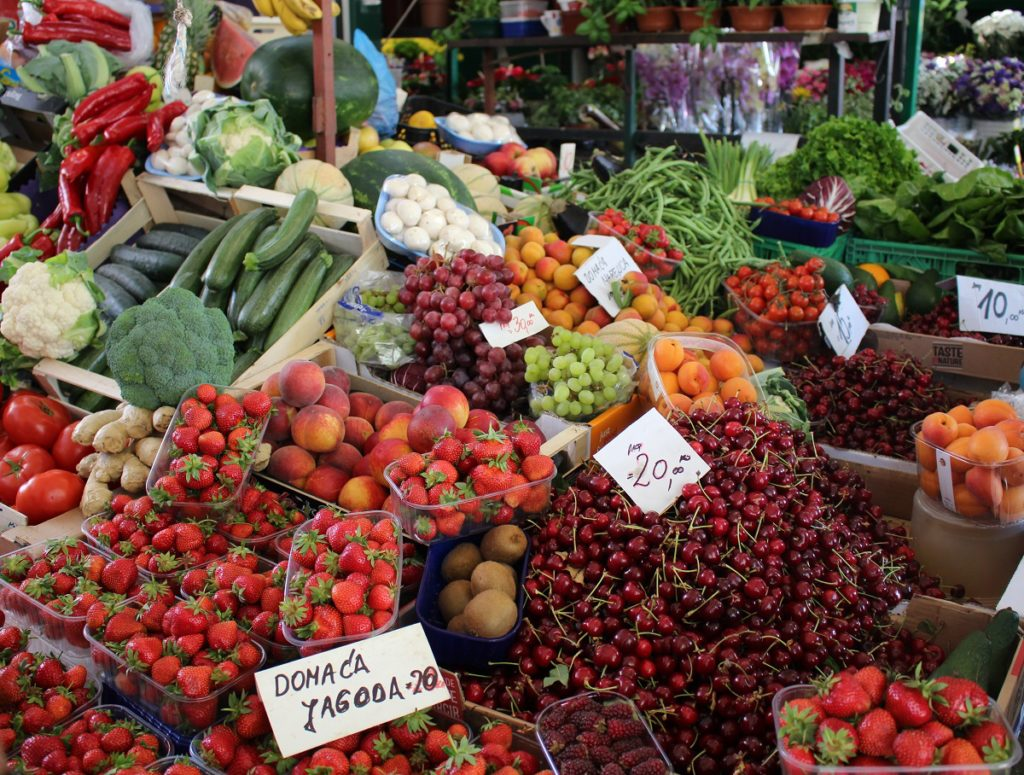 Croatia green market with fruits and vegetables.