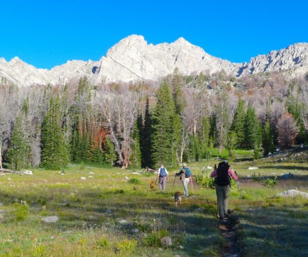 Hikers make an approach to Pyramid Peak from Copper Basin in central Idaho.