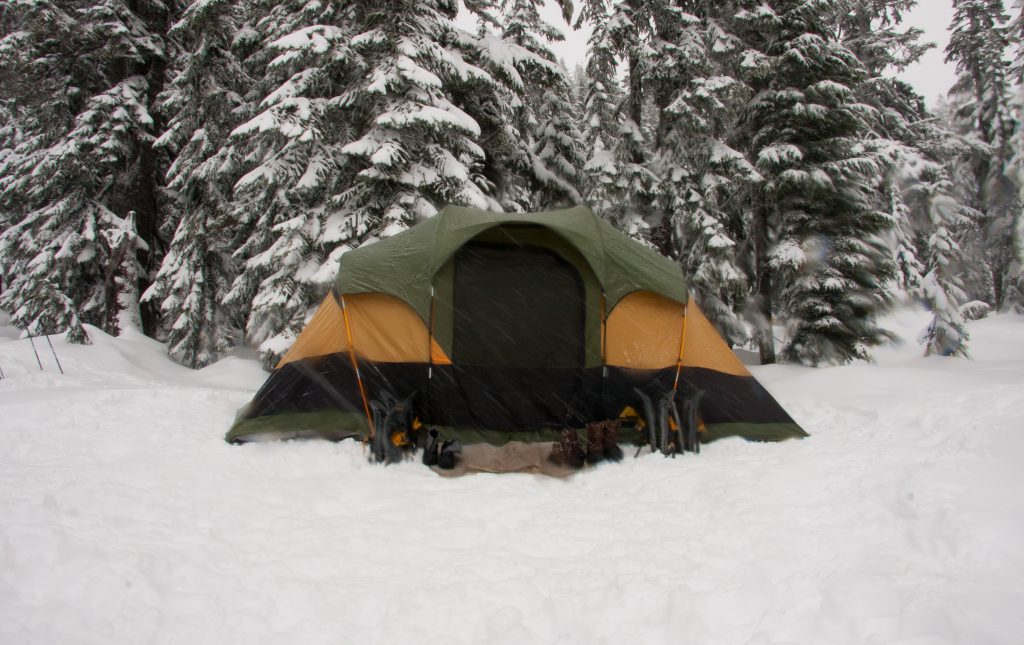 A tent on snow field