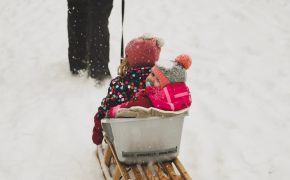 Two kids on a sled, winter day.