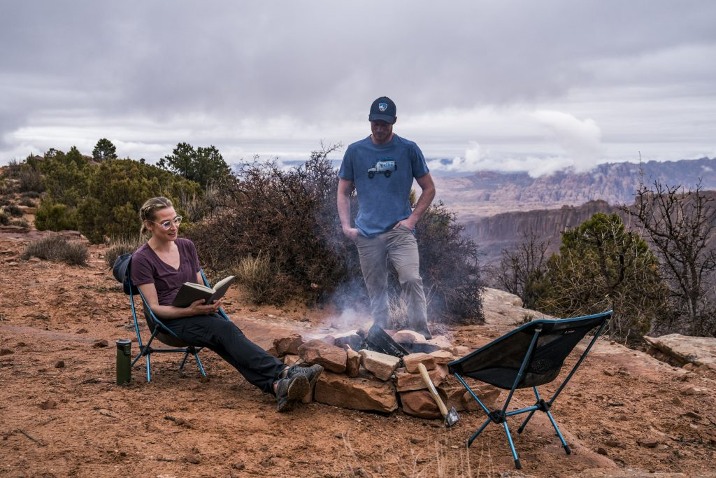 Hot 2019 Camping Products - A man and a woman in Moab, dressed in KUHL men's and women's clothing