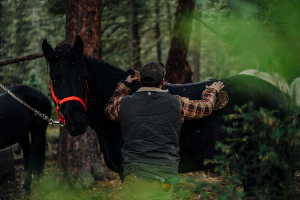 Choose Your Adventure - A man in KUHL Vest taming a horse