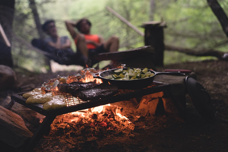Cooking in nature.