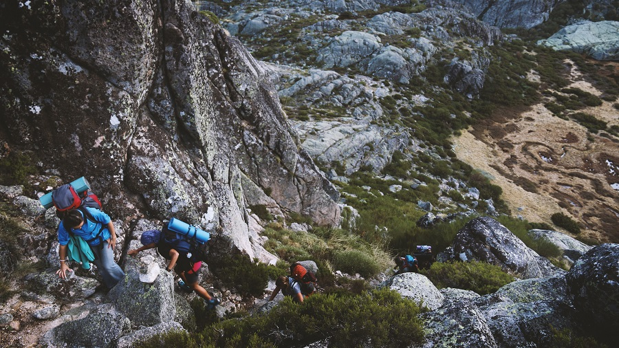 several mountain climbers on cliff at daytime