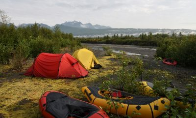 Packrafting camp on the Tokositna River, in Alaska's Denali National Park.