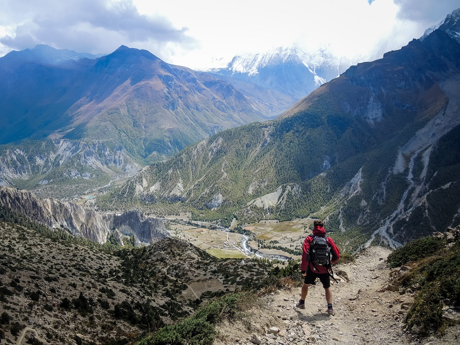 A man hiking in Nepal.