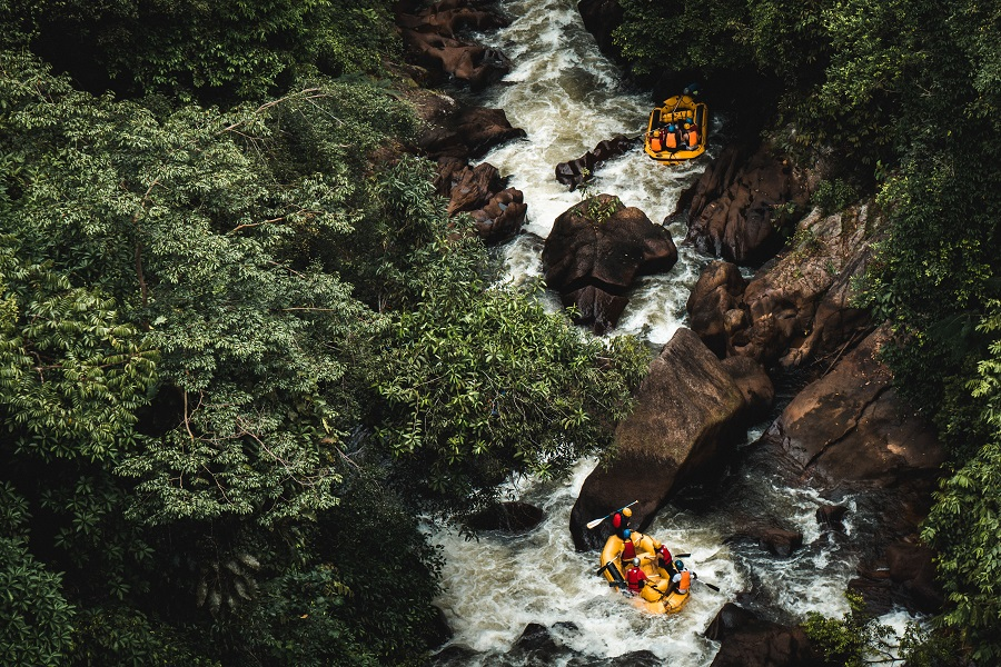 People rafting in the river.