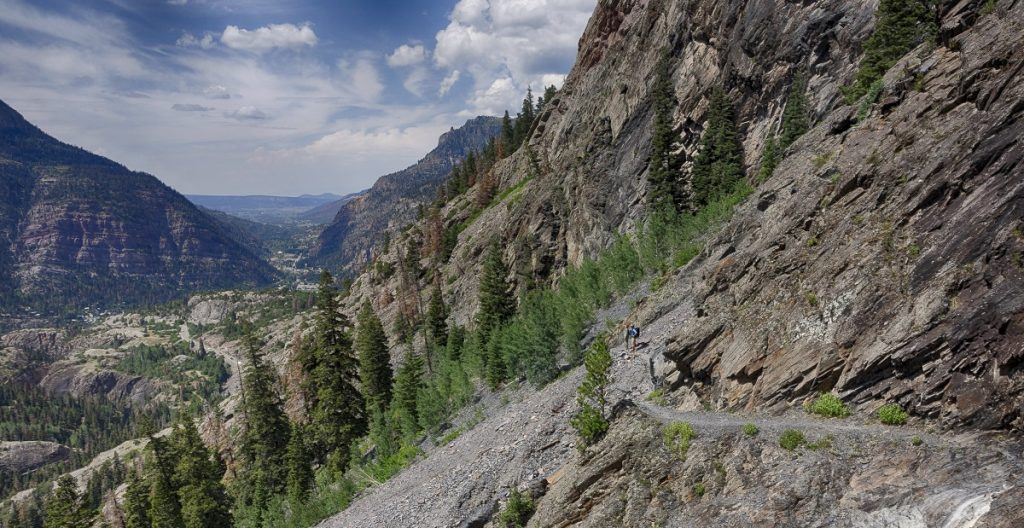 hiking trail on rocky mountain formation