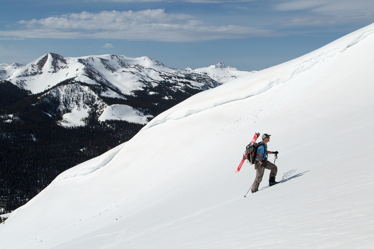 a person back country skiing