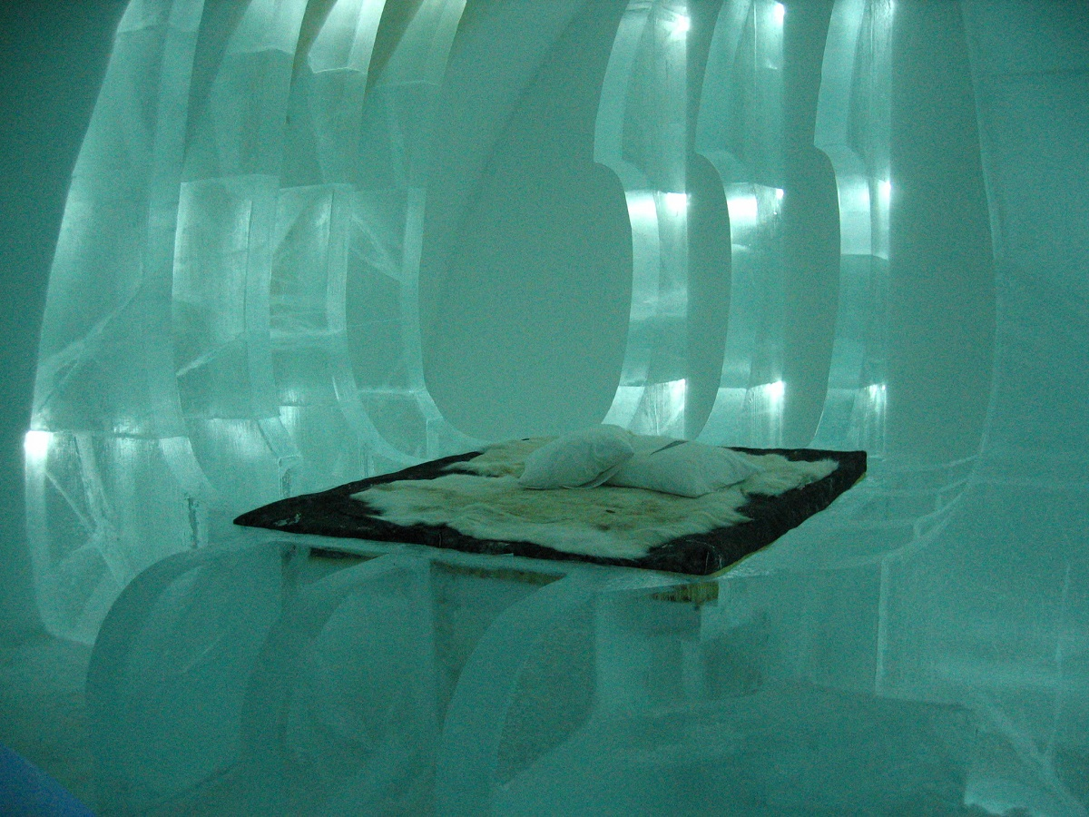 sheets and pillow on the ice bed