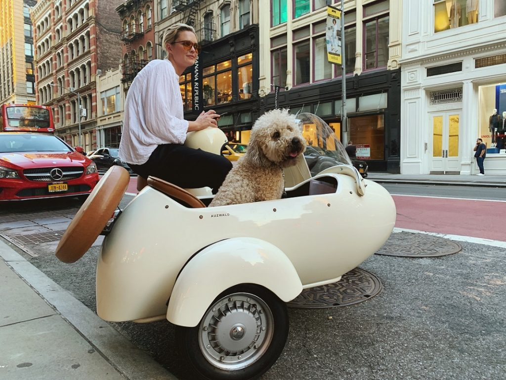 woman in white shirt next to a dog in white motorbike seat