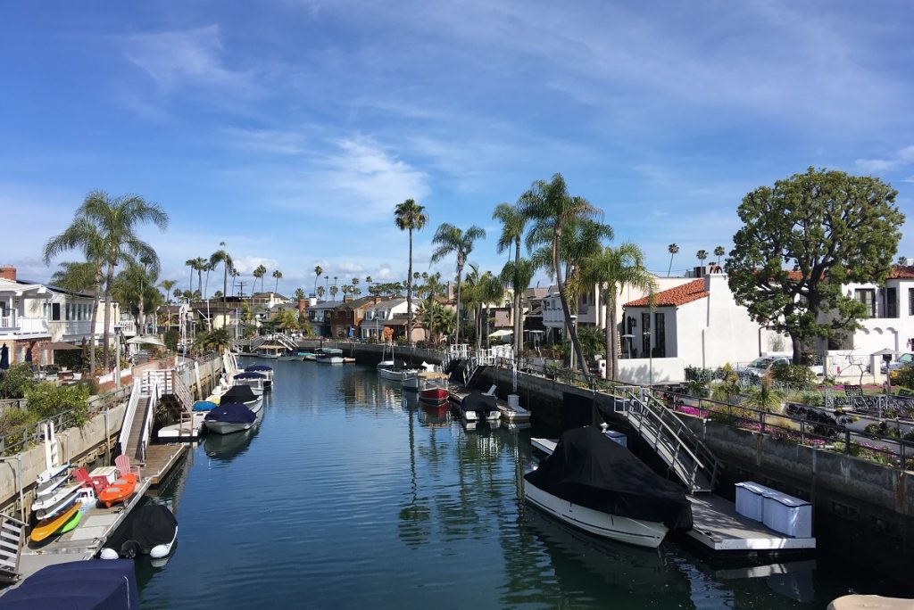 houses palms and boats around blue water canal