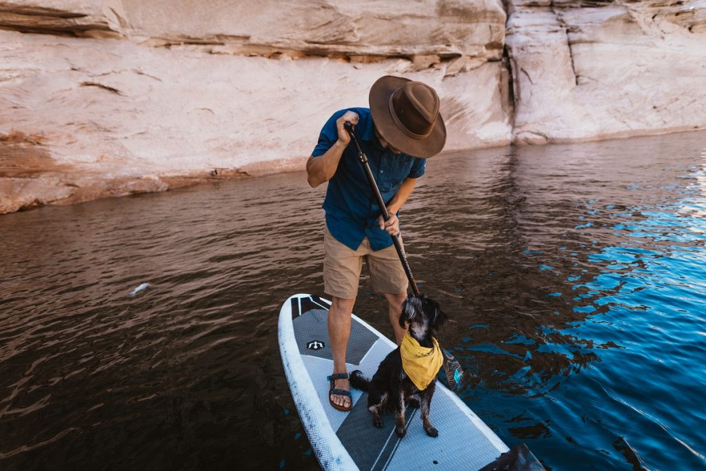 man and dog on paddle board on body of water