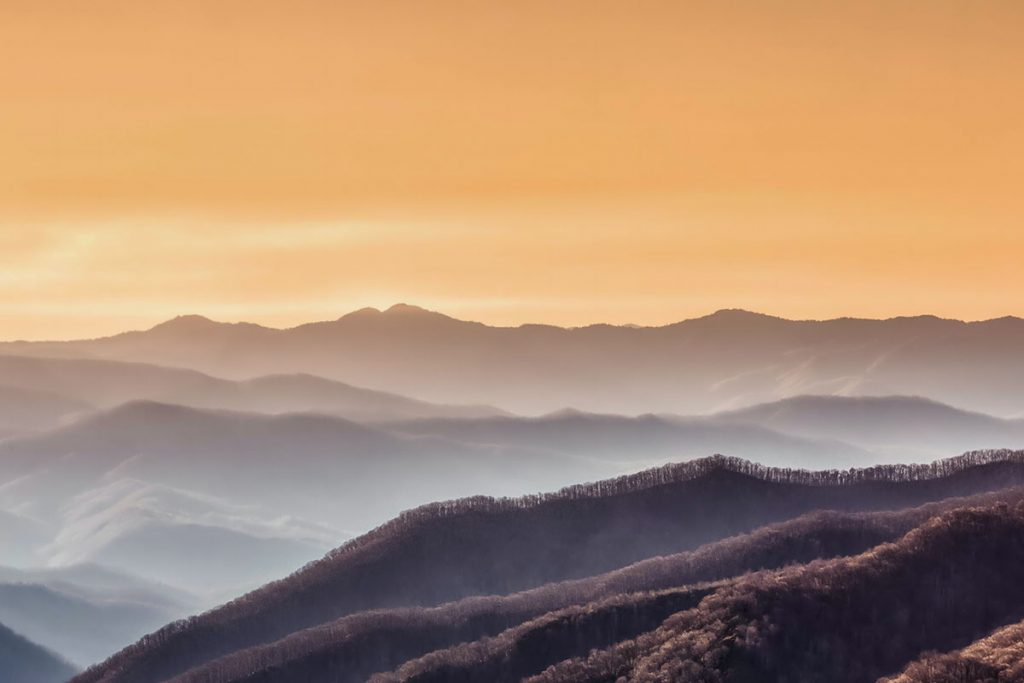 great smoky mountains during golden hour