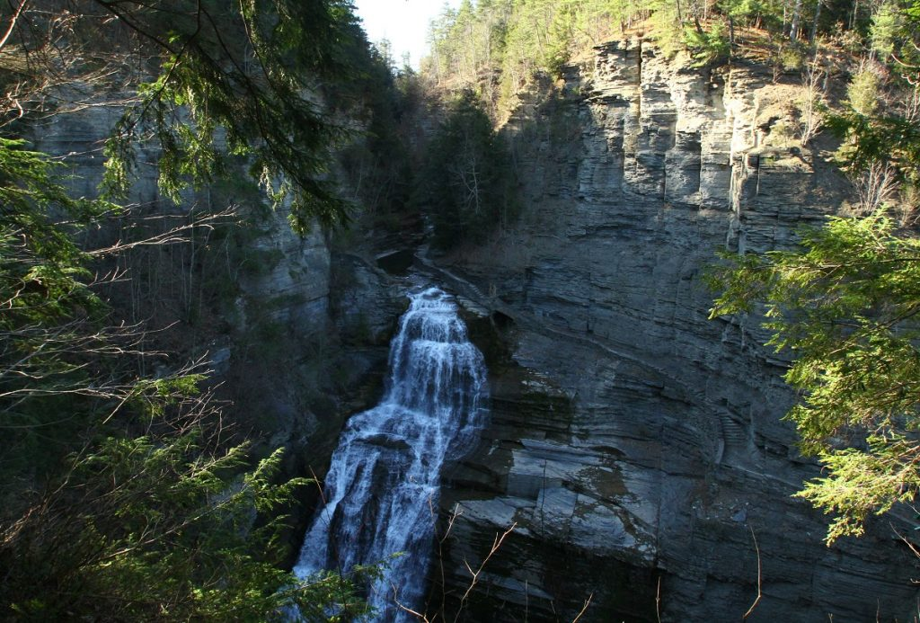 waterfall on tall rock formation