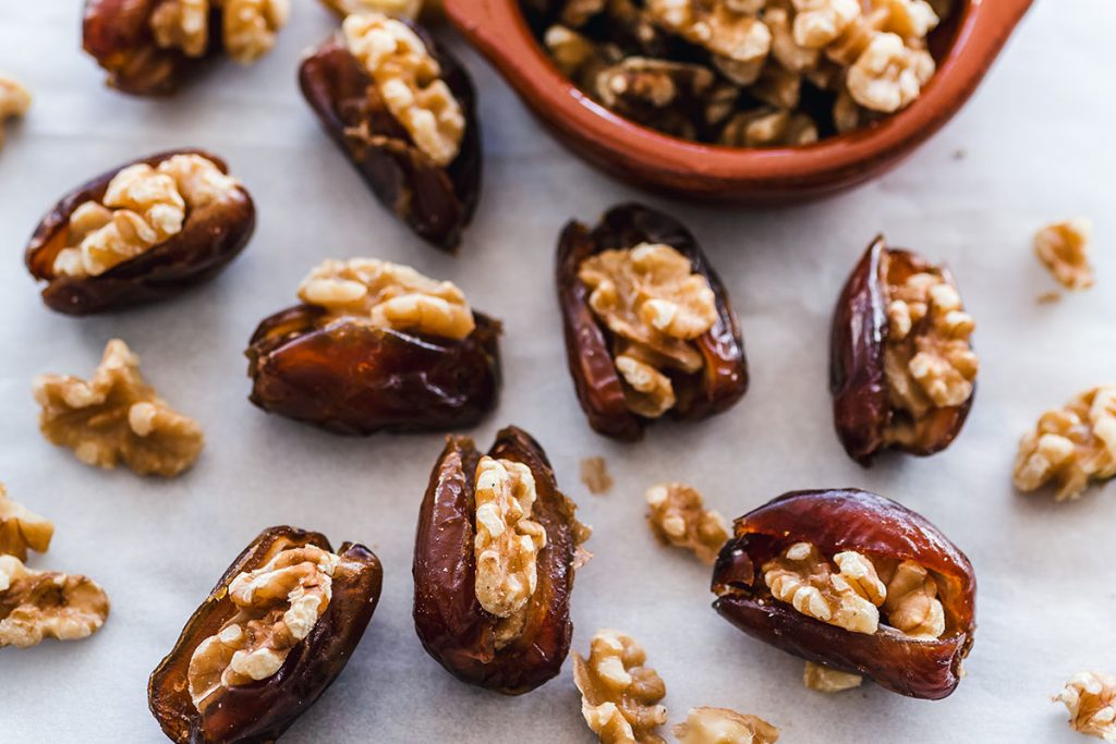 walnuts in dates on table