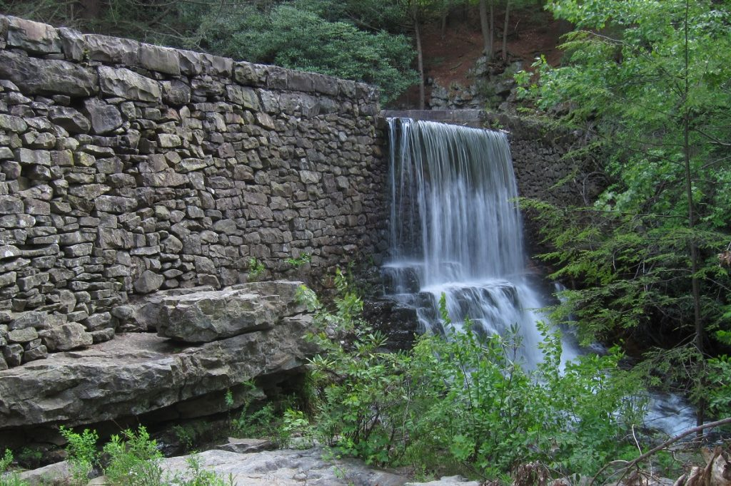 waterfall on gray rock formation