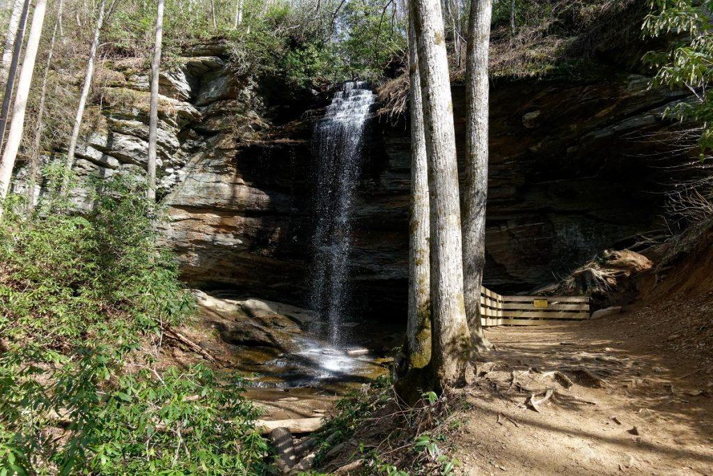 waterfall next to wooden fence