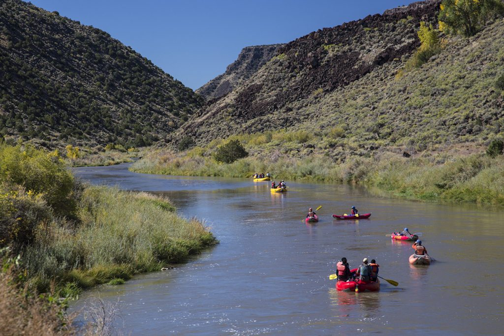 red rafts on the river