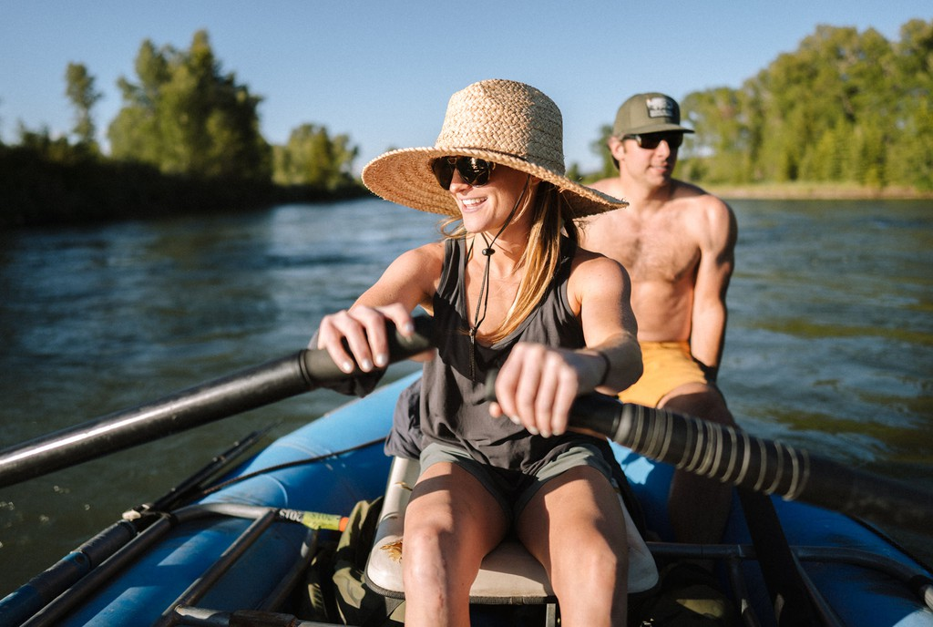 Woman Rowing in Outdoor clothing - Taken from KUHL Clothing Home Page
