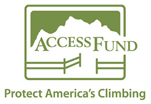 Access Fund Protect America's Climbing green and white logo