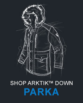 A technical drawing of KUHL men's Arktik Down Parka