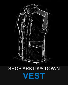 A technical drawing of KUHL men's Arktik Down Vest