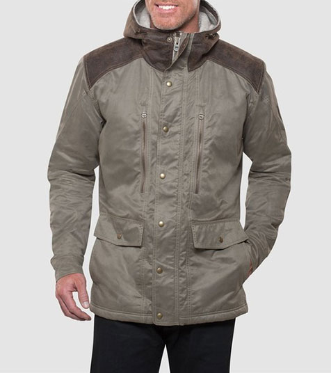 A studio image of men's winter hiking jacket - Arktik Jacket in Koyote color