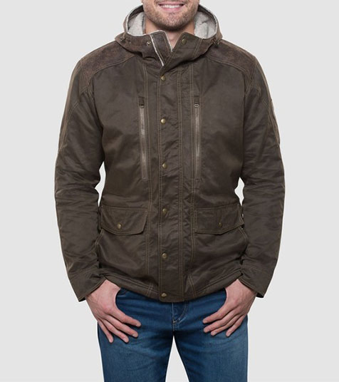 A studio image of men's winter hiking jacket - Arktik Jacket in Raven color