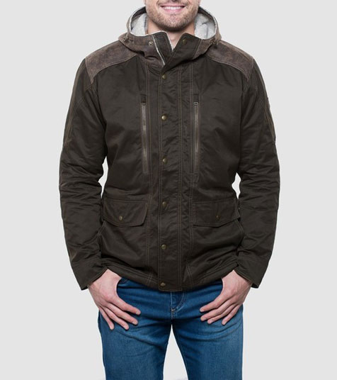 A studio image of men's winter hiking jacket - Arktik Jacket in Olive color