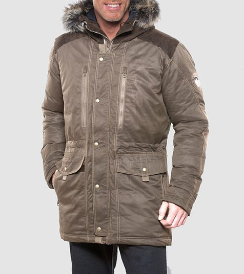 A studio image of men's winter hiking jacket - Arktik Down Jacket in Koyote color