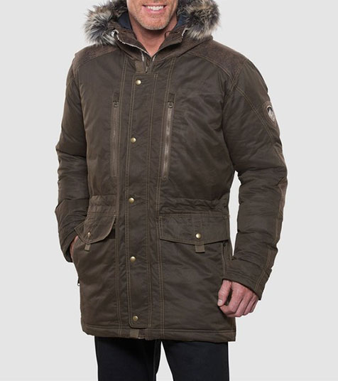 A studio image of men's winter hiking jacket - Arktik Down Jacket in Olive color