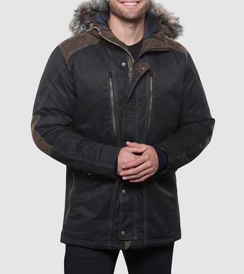 A studio image of men's winter hiking jacket - Arktik Down Jacket in Raven color