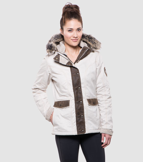 A studio image of women's winter hiking jacket - Arktik Jacket in Natural color