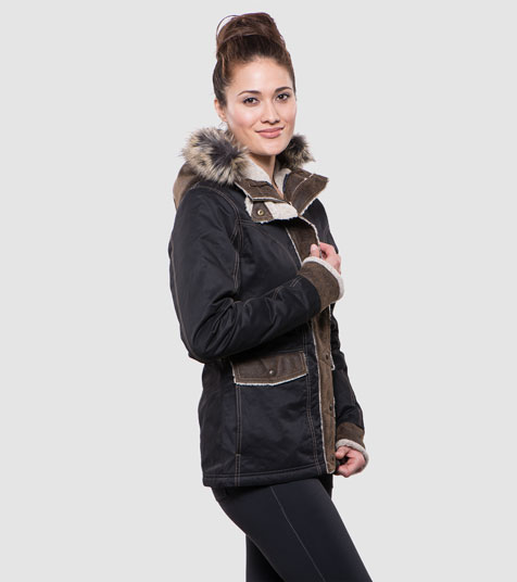 A studio image of women's winter hiking jacket - Arktik Jacket in Raven color