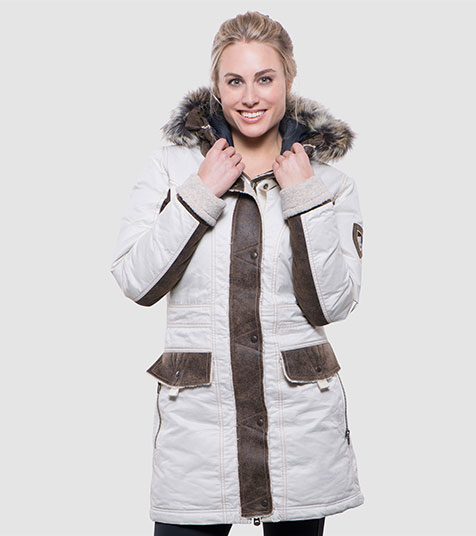 A studio image of women's winter hiking jacket - Arktik Parka in Natural color