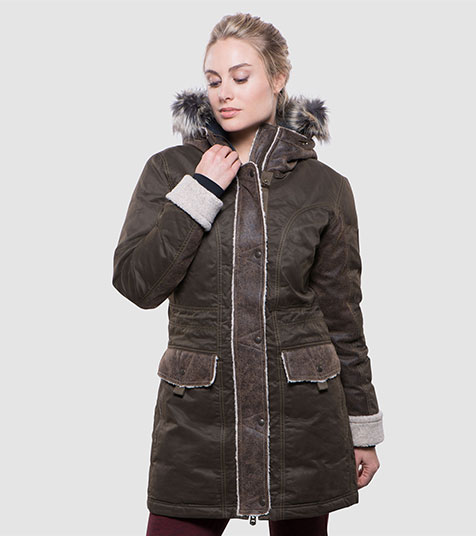 A studio image of women's winter hiking jacket - Arktik Parka in Olive color