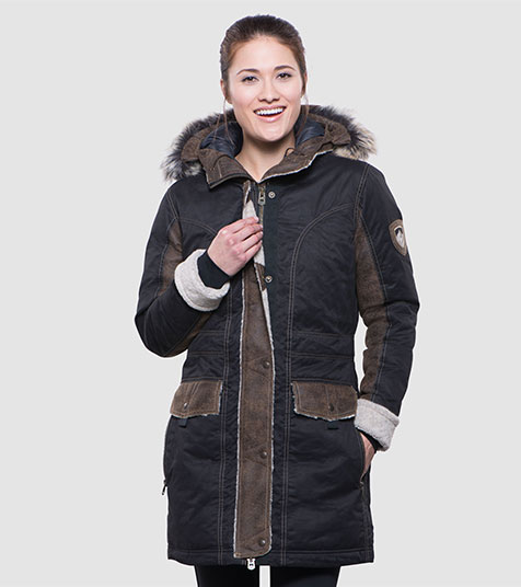 A studio image of women's winter hiking jacket - Arktik Parka in Raven color