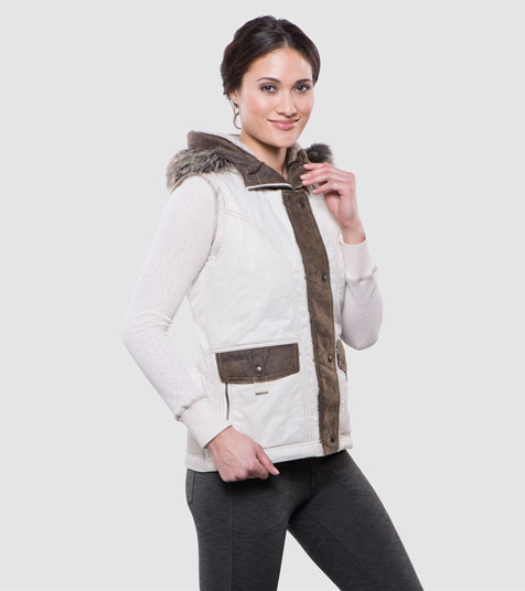A studio image of women's winter hiking vest - Arktik Vest in Natural color