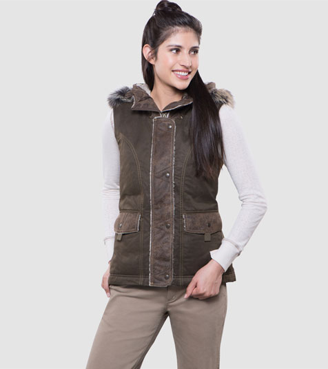A studio image of women's winter hiking vest - Arktik Vest in Olive color