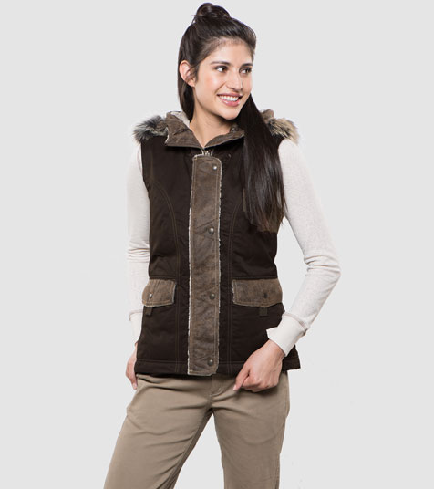 A studio image of women's winter hiking vest - Arktik Vest in Raven color